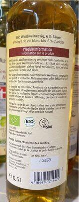 Vinaigre de vin blanc - Nutrition facts - fr