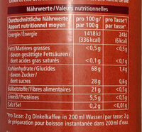Dinkel Kaffee mit Zichorie - Valori nutrizionali - de