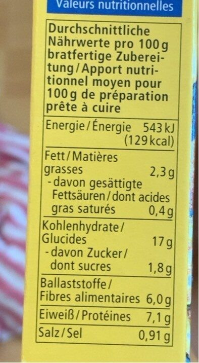 Falafel - Valori nutrizionali - de