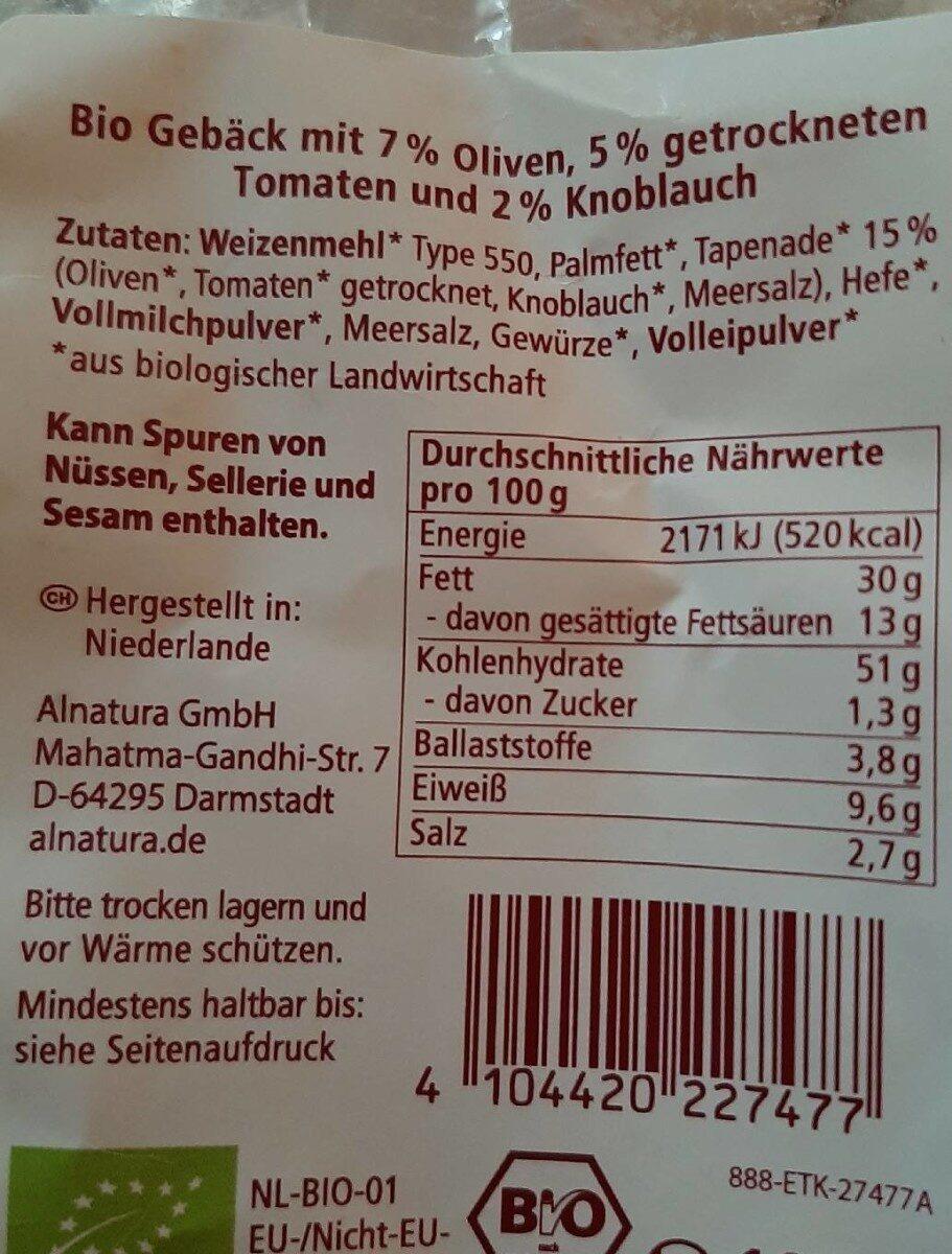 Oliven & Tomaten Gebäck - Nährwertangaben - de