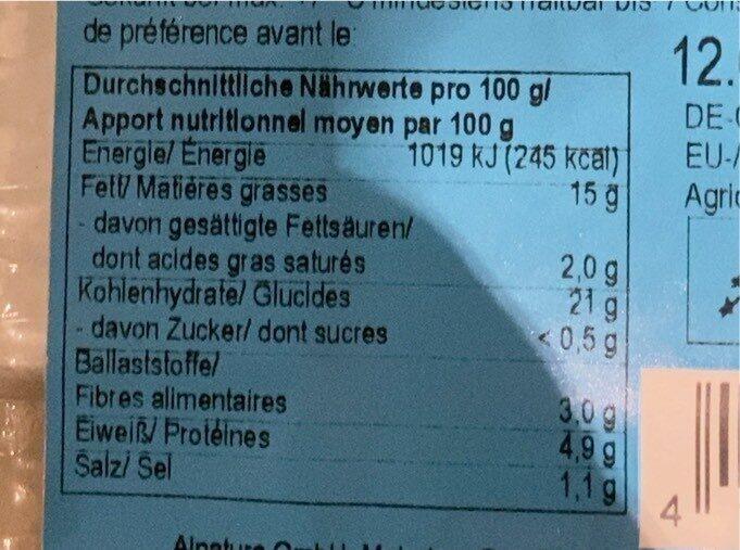 Spinat Cashew Taschen - Informations nutritionnelles - fr