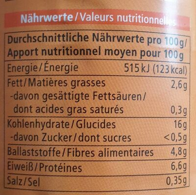 Kichererbsen - Valori nutrizionali - de
