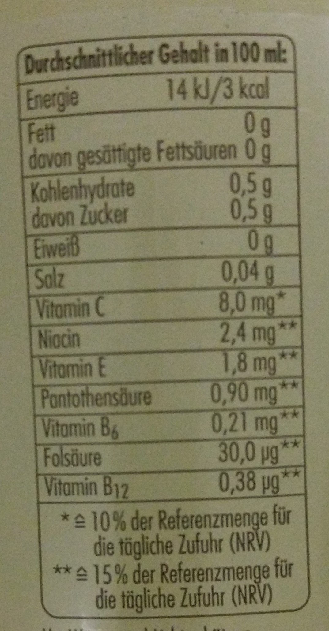 deit Grapefruit - Nutrition facts - de