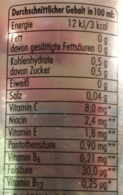 Deit Grapfruit - Informazioni nutrizionali - de