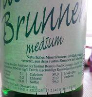 Justus Brunnen Mineralwasser Medium - Nährwertangaben - de