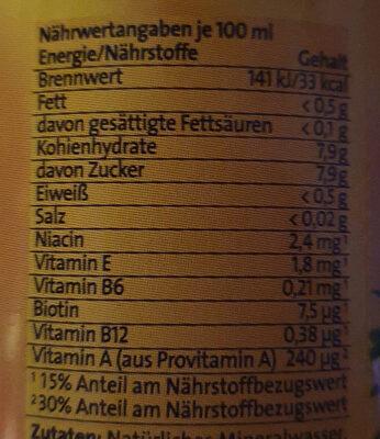 Vital tropic - Informations nutritionnelles - fr