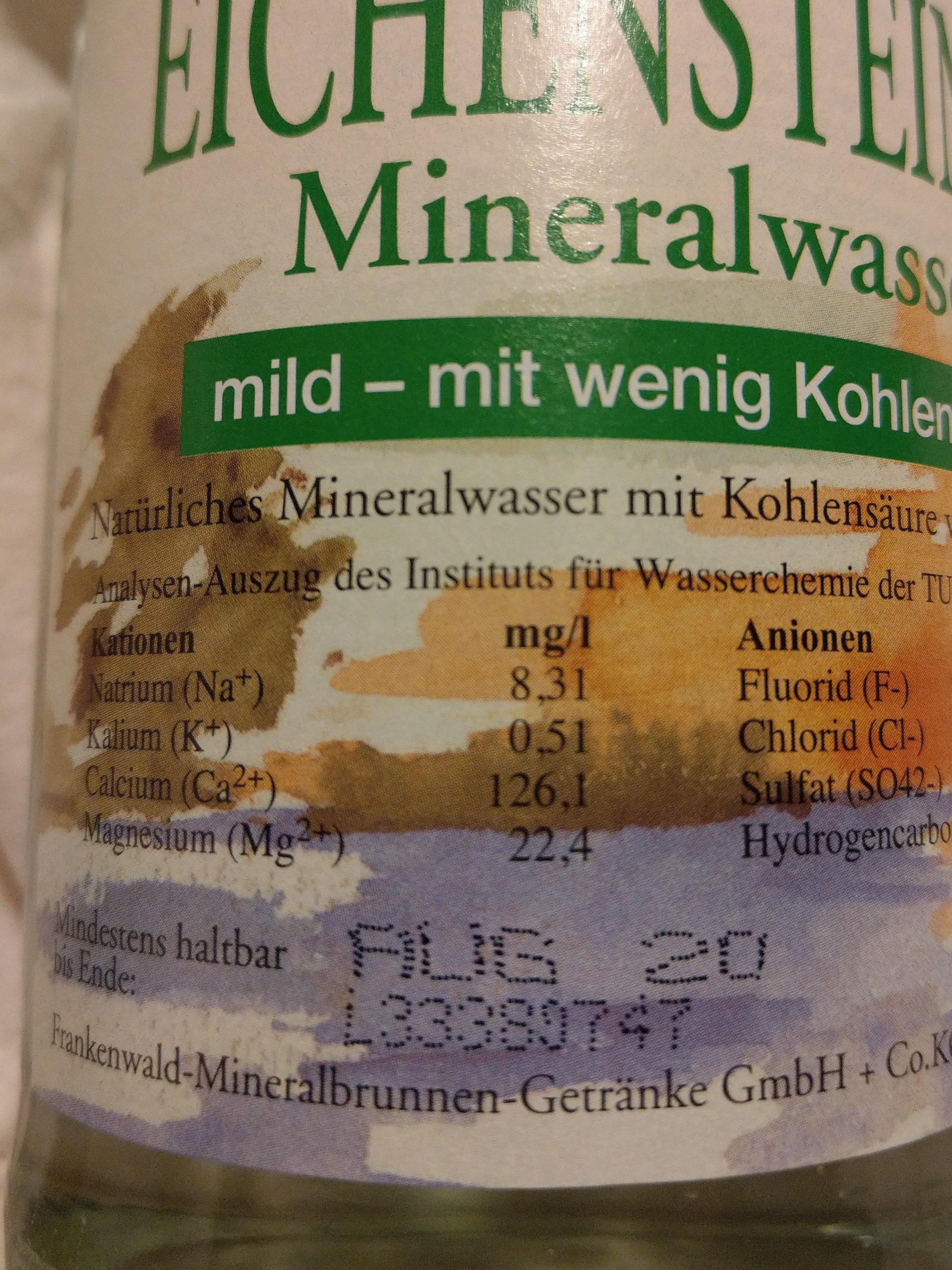 Eichensteiner Mineralwasser - Nährwertangaben - de