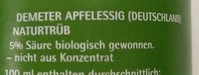 Beutelsbacher Apfelessig, Naturtrüb, 0,75 LTR Flasche - Ingredients