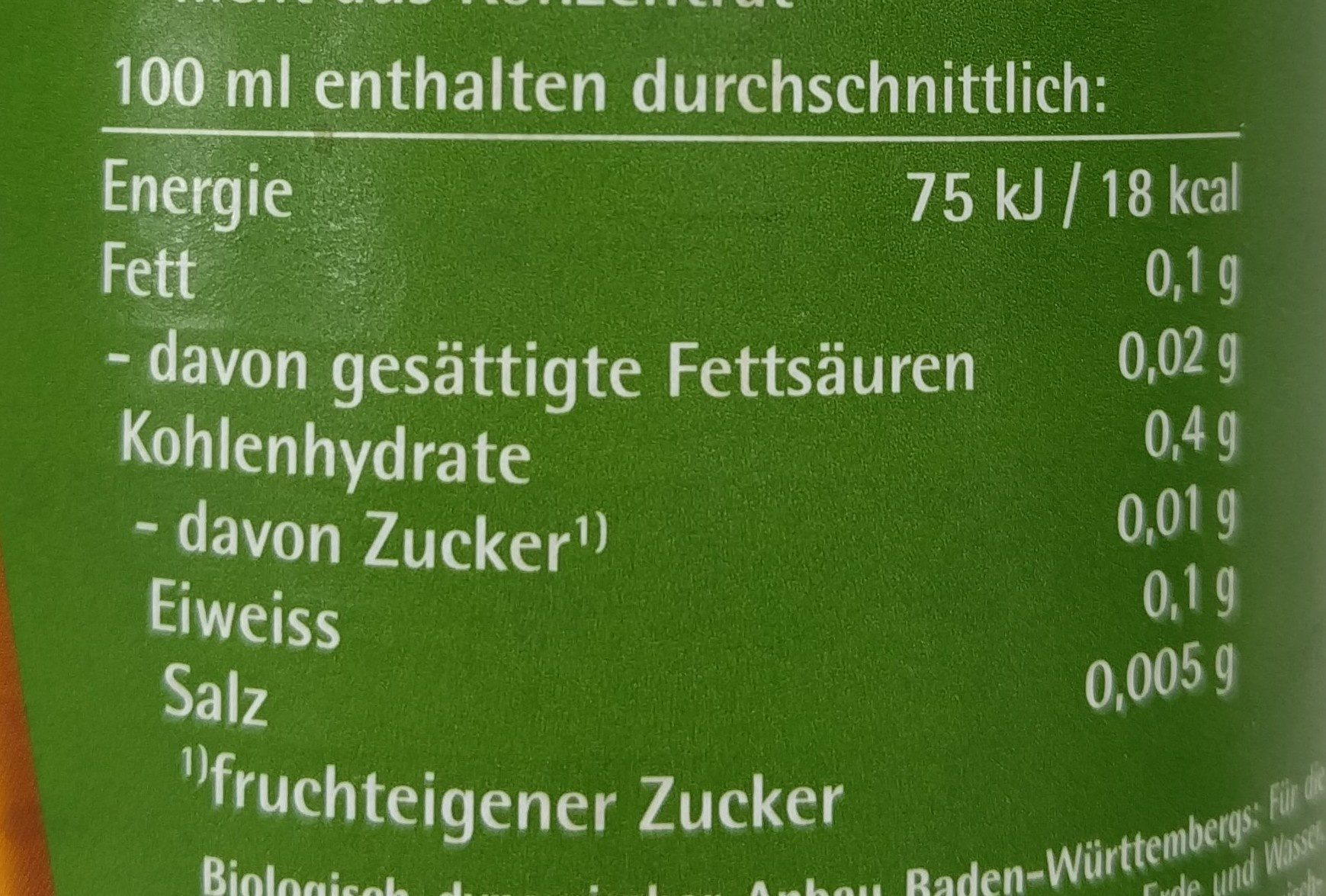 Beutelsbacher Apfelessig, Naturtrüb, 0,75 LTR Flasche - Informations nutritionnelles - de