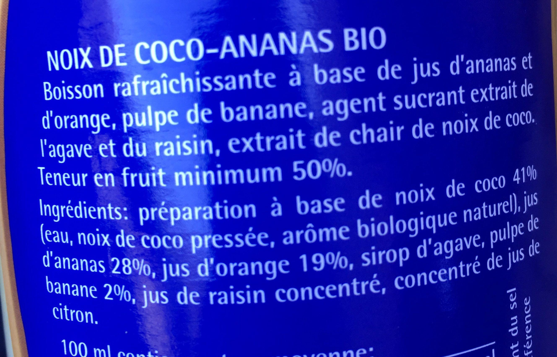 Jus de fruits Coco- Ananas - Ingredients