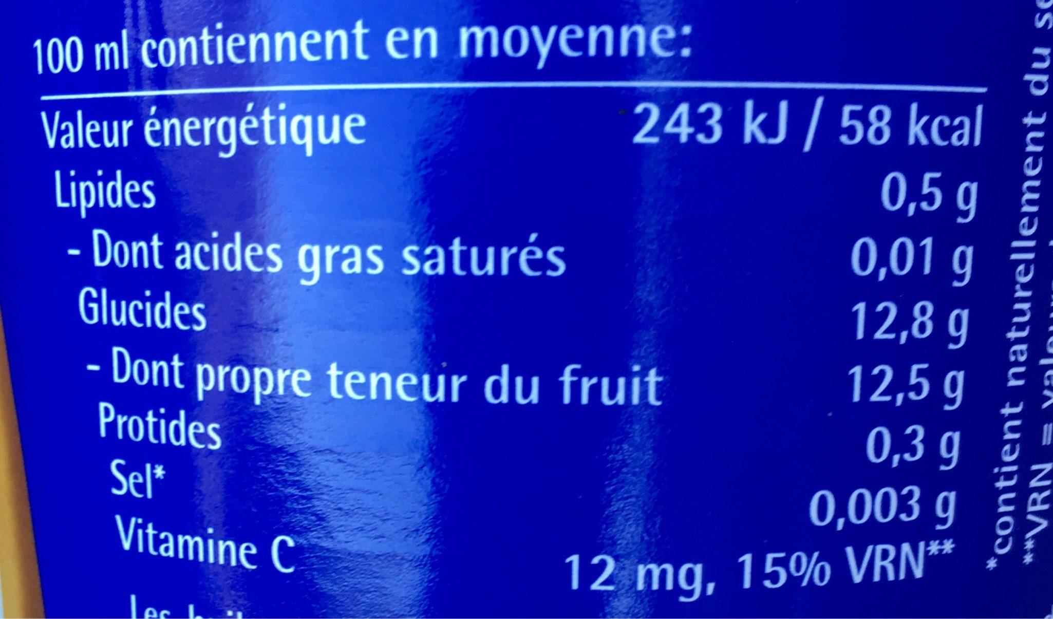 Jus de fruits Coco- Ananas - Nutrition facts
