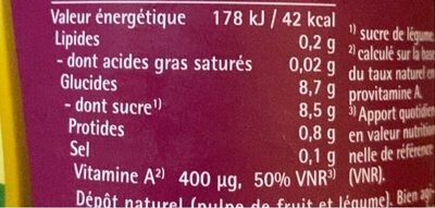 COCKTAIL JUS DE LEGUMES LACTO-FERMENTE - Nutrition facts - fr