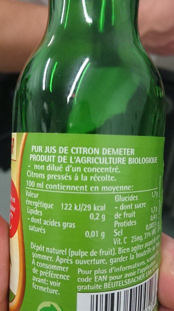20CL Jus Citron - Ingrédients