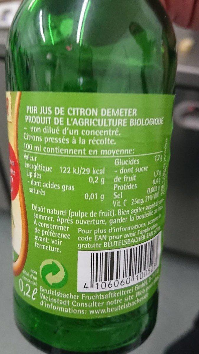 20CL Jus Citron - Informations nutritionnelles