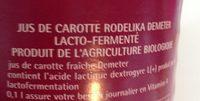 75CL Jus Carotte Rodelika Lacto-fermente - Ingredients - fr