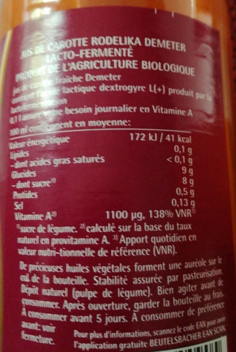 75CL Jus Carotte Rodelika Lacto-fermente - Nutrition facts - fr