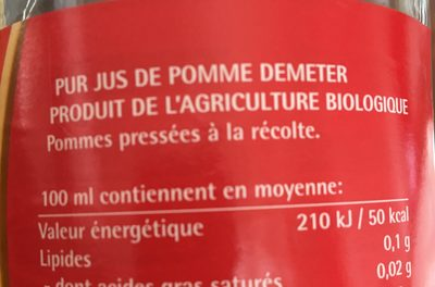75CL Jus Pomme - Ingredients - fr