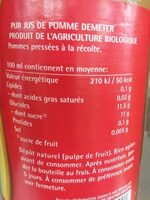 75CL Jus Pomme - Nutrition facts - fr