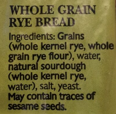 Rye bread - Ingrediënten