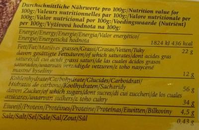 Gâteau marbré - Nährwertangaben - fr