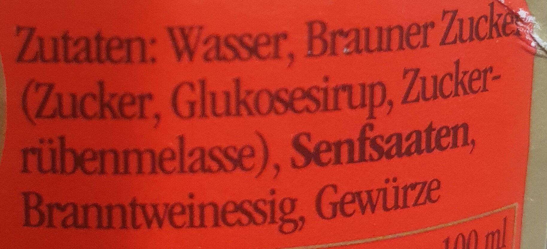 Senf süß - Ingredientes - de