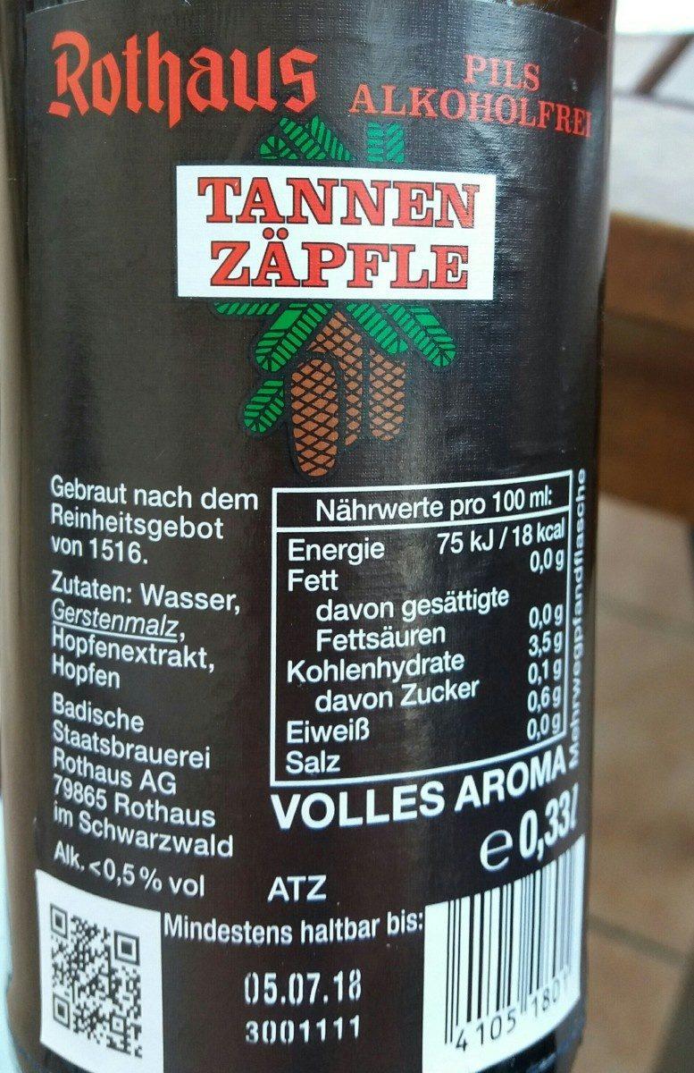 Tannenzäpfle alkoholfrei - Ingredients - de