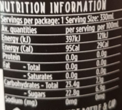 organic cola - Nutrition facts
