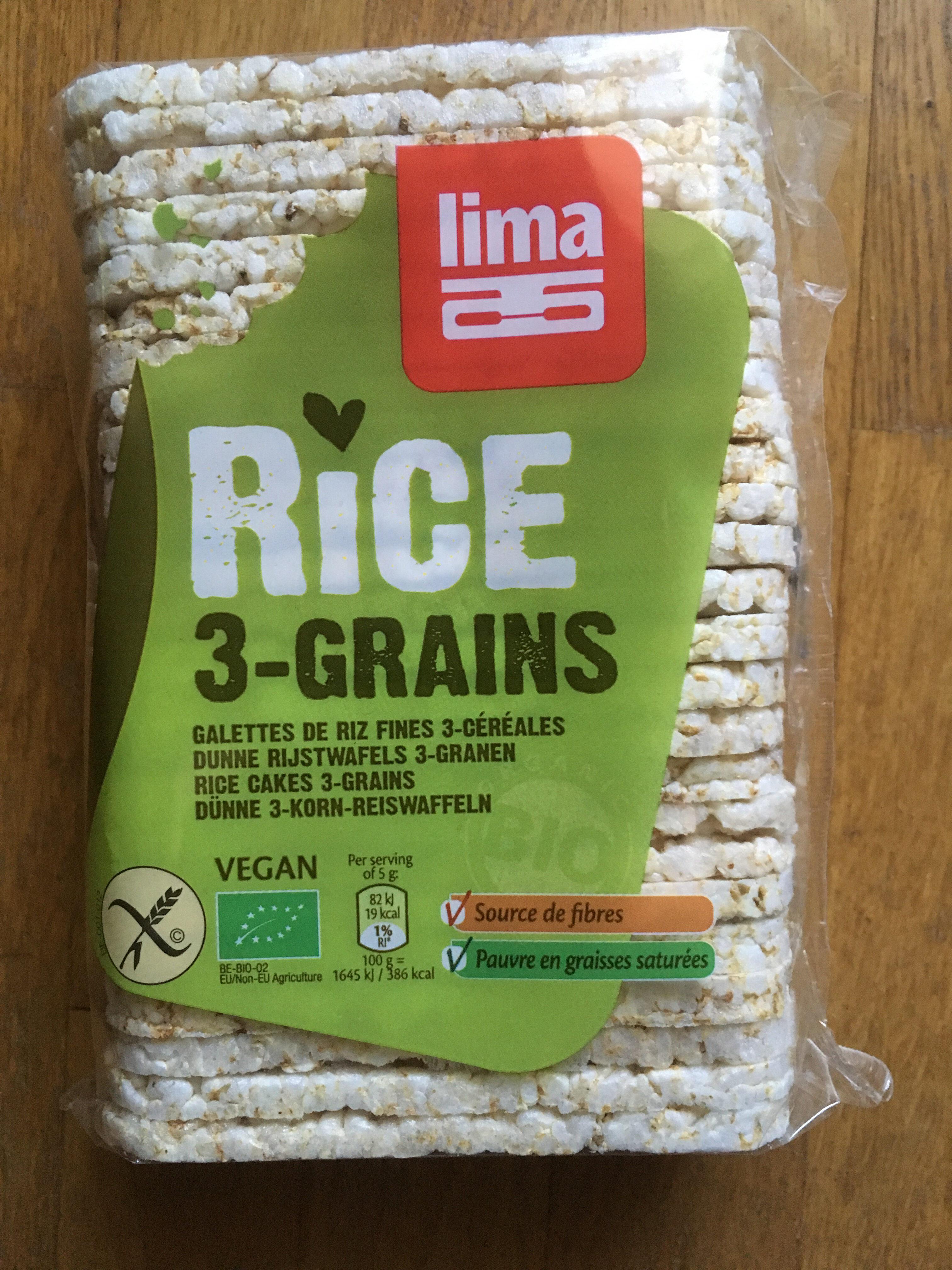 Rice 3-Grains - Galettes de riz fines - Produit - fr