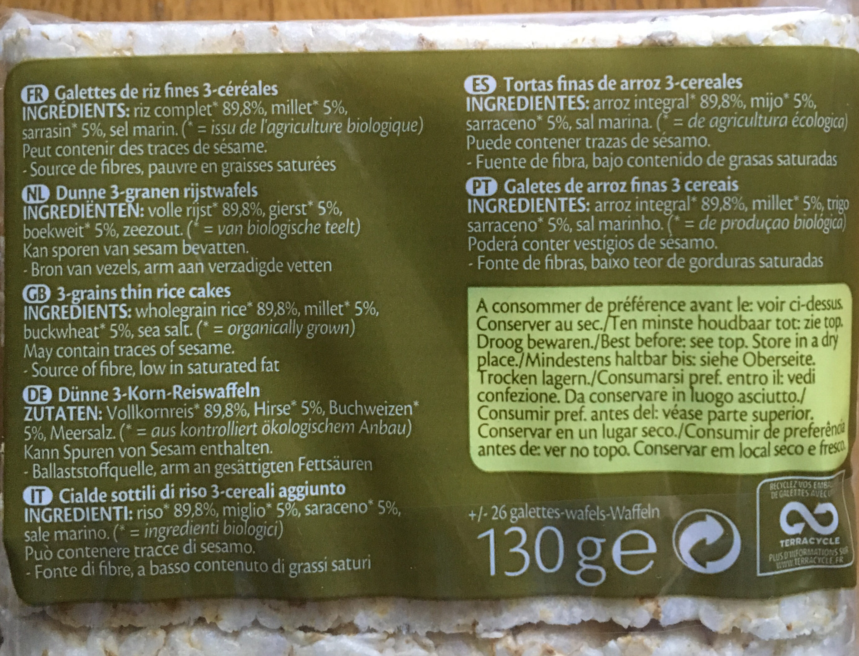 Rice 3-Grains - Galettes de riz fines - Ingrédients - fr