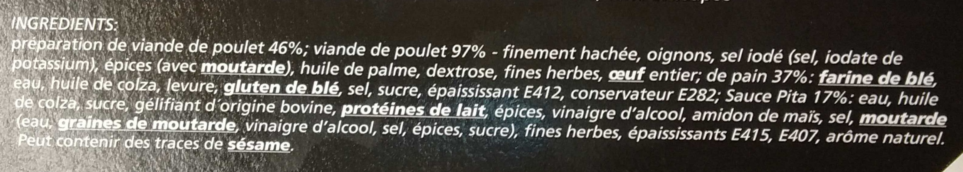 Pita Poulet Classic - Ingrédients