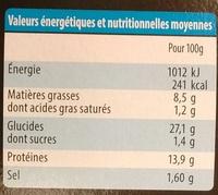 Pita Poulet Classic - Informations nutritionnelles