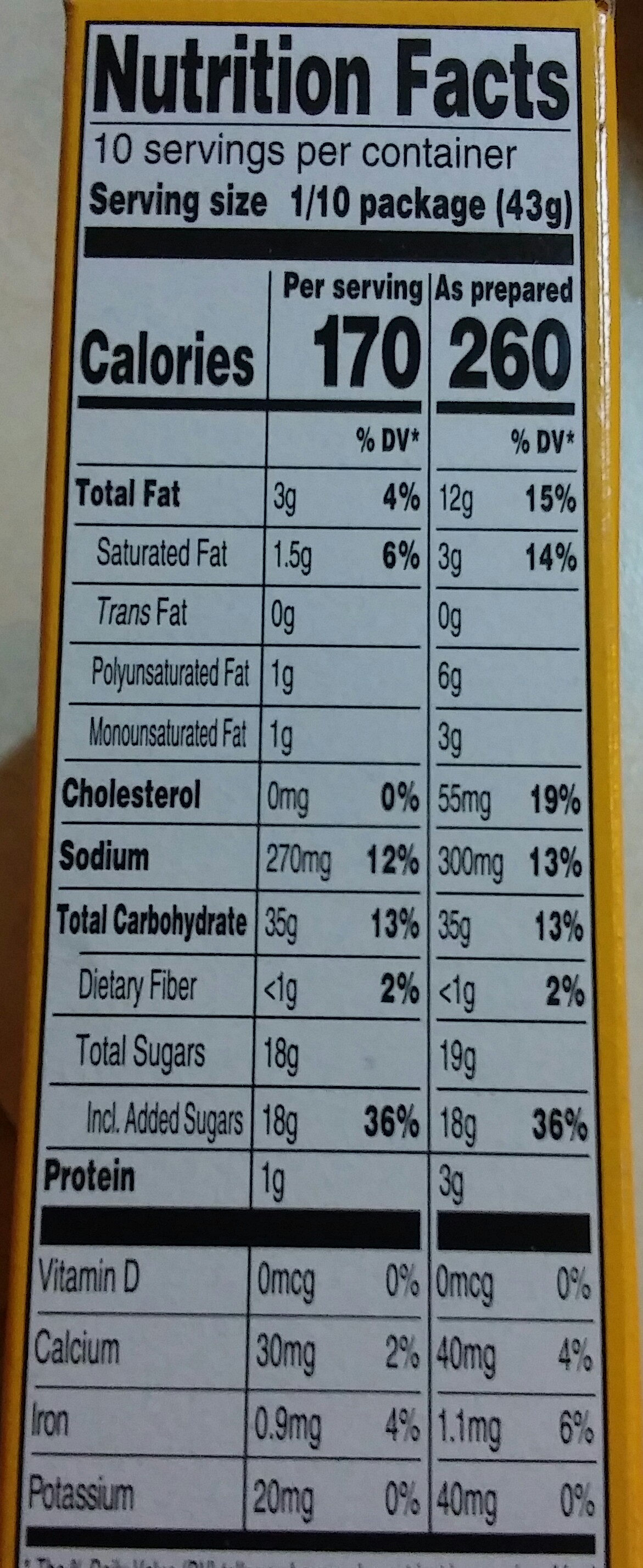 Classic Yellow Cake Mix - Nutrition facts - en