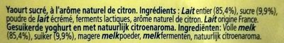 Le yaourt au citron - Ingredients