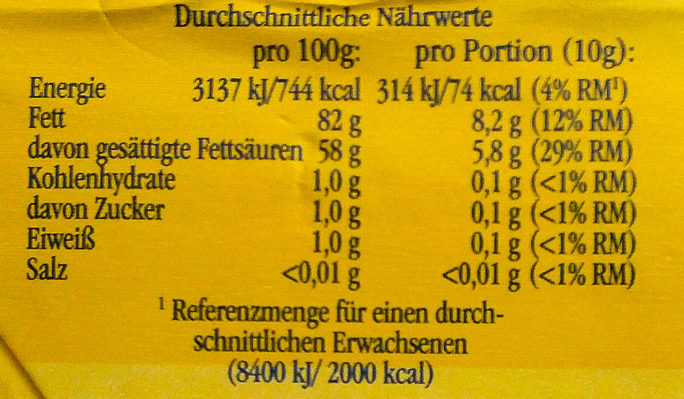 Landliebe Butter rahmig-frisch - Nutrition facts - de