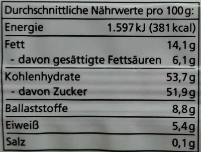 Feige-Dattel schokoliert - Nutrition facts