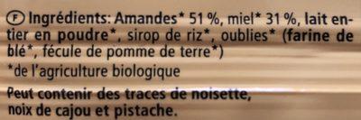 Barre à l'amande et au miel - Ingrédients - fr