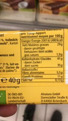 Barre à l'amande et au miel - Informations nutritionnelles - fr