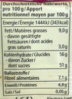 Vielfrucht Barre très fruitée - Informazioni nutrizionali - de