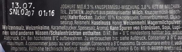 Joghurt mit der Ecke Knusper Original - Ingredients - fr
