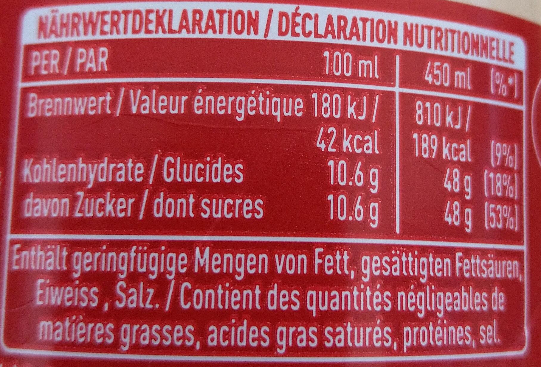 Coca Cola - Nutrition facts - de