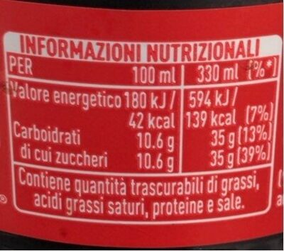 Coca cola 330 ml - Informations nutritionnelles - fr