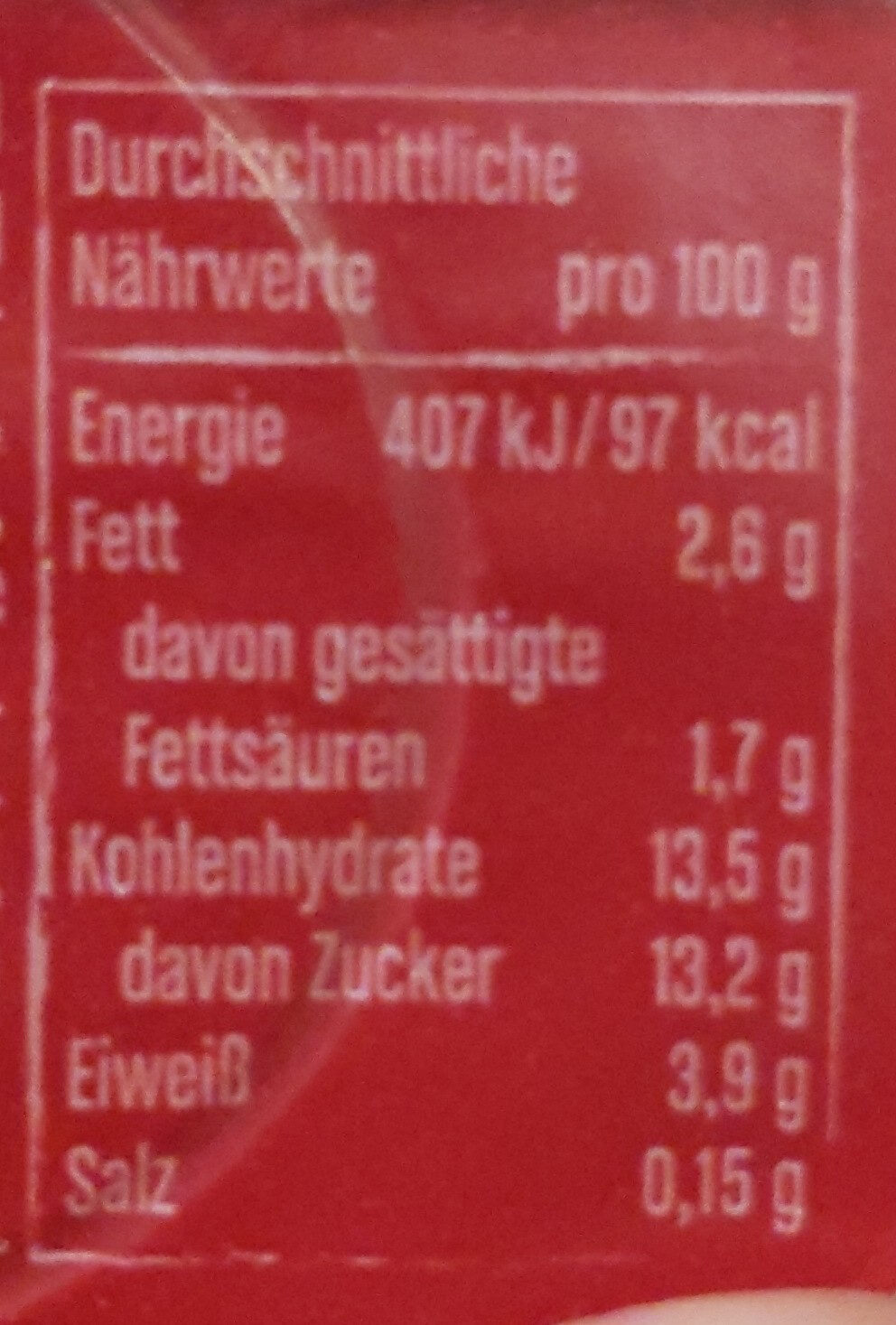 Joghurt mit der Ecke Kirsche - Nährwertangaben - de