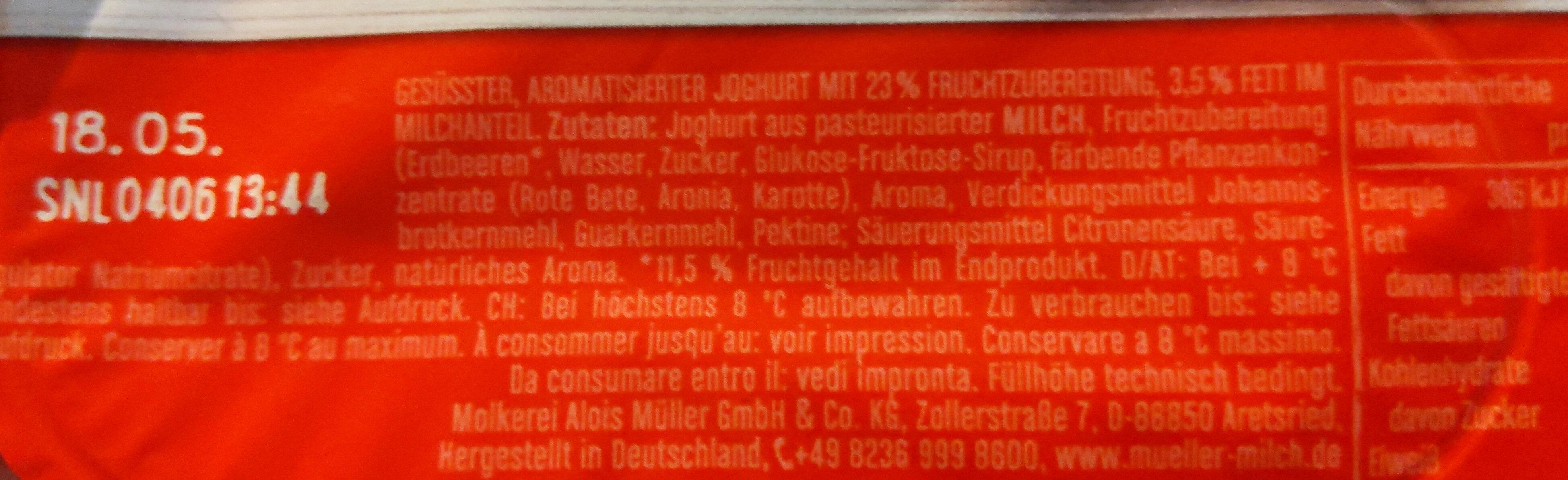 Joghurt mit der Ecke, Erdbeere - Ingrédients - de