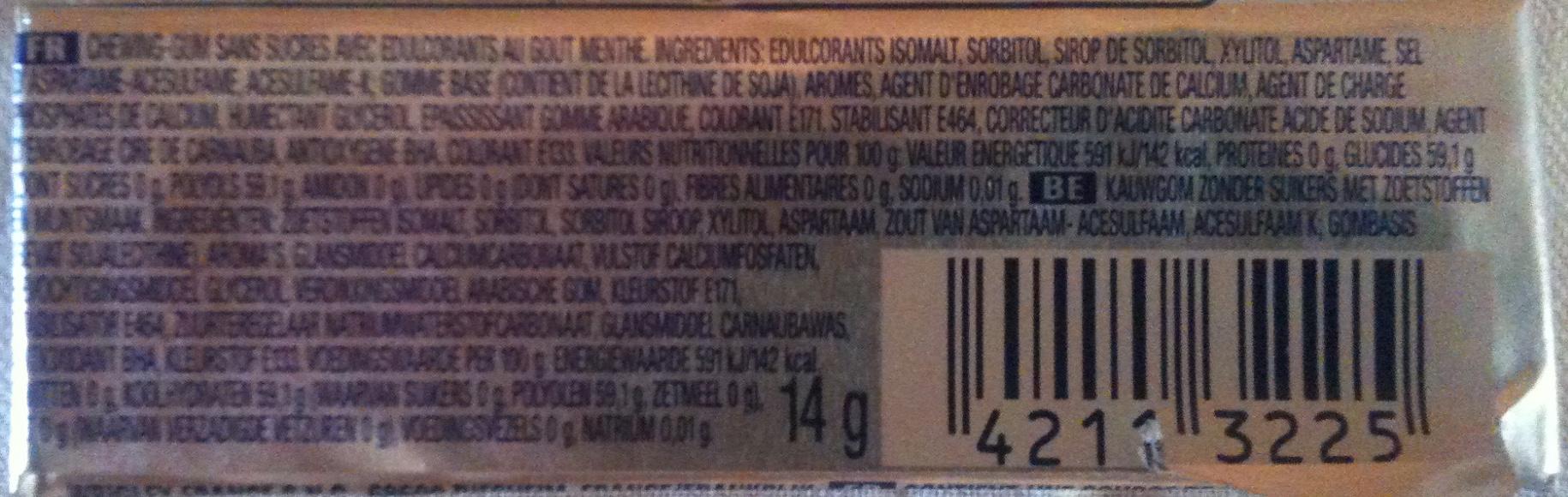 Etui de 10 Dragées White Menthe Verte - Ingredients - fr