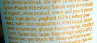 Ayran Peach - Ingredients