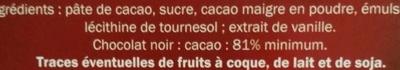 Chocolat noir dégustation 81% - Ingrédients