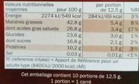 Chocolat noir dégustation 81% - Informations nutritionnelles