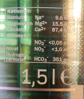 Saskia Mineralwasser medium - Nährwertangaben