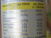 Green Lemon Zero - Valori nutrizionali - de