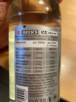 Beck's ICE Lime & Mint - Ingredienti - de